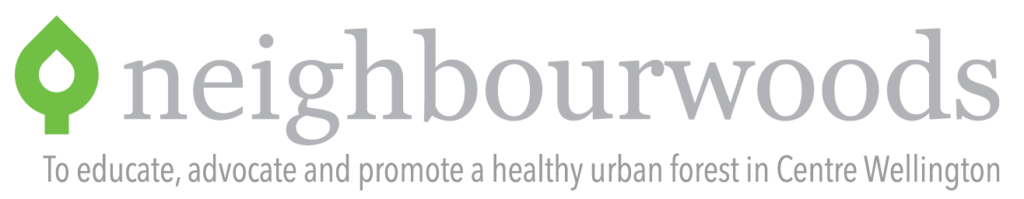 "neighbourwoods logo and slogan, ""To educate, advocate, and promote a healthy urban forest in Centre Wellington"""